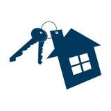 Дом и значок ключей изолированный на белой предпосылке также вектор иллюстрации притяжки corel Стоковое Изображение RF
