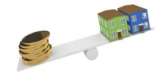 Дом и золотые монетки иллюстрация вектора