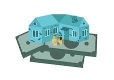 Дом и коробки стоят на деньгах иллюстрация вектора