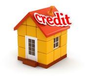 Дом и кредит (включенный путь клиппирования) иллюстрация вектора