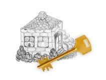 Дом и ключ чертежа Стоковые Изображения