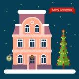 Дом и рождественская елка Иллюстрация вектора плоская Стоковые Изображения