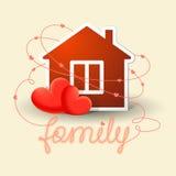 Дом и 2 сердца Стоковые Фотографии RF