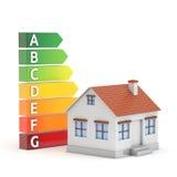 Дом и ярлык выхода по энергии иллюстрация вектора