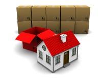 дом картона коробки Стоковое Изображение