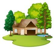 Дом кирпича в лужайке иллюстрация штока