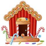 Дом конфеты пряника иллюстрация штока