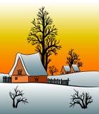 Дом коттеджа зимы на заходе солнца Стоковые Изображения