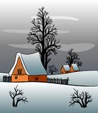 Дом коттеджа зимы на ноче Стоковое Изображение RF