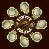 Дом кофе с ярлыками для текста Стоковое Фото