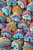Дом, красочный, уникально, печенья меда рождества Стоковое Изображение RF