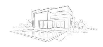 Дом линейного архитектурноакустического эскиза вектора современный разделенный Стоковое Фото