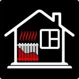 Дом логотипа с топлением радиатора Ресурсы сбережений Высокая эффективность Высокая цена жары иллюстрация вектора