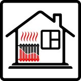 Дом логотипа с топлением радиатора Ресурсы сбережений Высокая эффективность Высокая цена жары иллюстрация штока
