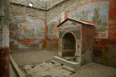 Дом малого фонтана Помпеи, Италии Стоковое Изображение RF