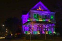 Дом марди Гра на ноче Стоковое Изображение RF