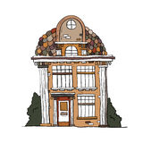 Дом нарисованный рукой винтажный Собрание вектора bui эскиза известного Стоковые Изображения RF