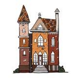 Дом нарисованный рукой винтажный Собрание вектора bui эскиза известного Стоковые Фотографии RF