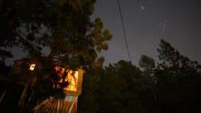 Дом на дереве под ночным небом со звездами стоковое изображение rf