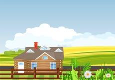 Дом на зеленом луге, сельская аграрная сцена Beutifull, иллюстрация вектора стоковая фотография rf