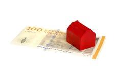 Дом на красной банкноте Dannish Стоковая Фотография