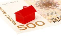 Дом на норвежской банкноте Стоковая Фотография