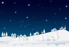 Дом на ночном небе холма с звездой и кометой, предпосылкой природы Стоковая Фотография