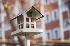 Дом на поляке для birdhouse птиц стоковые фотографии rf