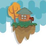 Дом на плавая острове иллюстрация штока