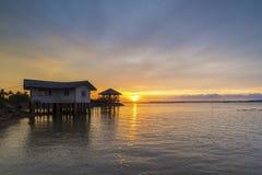 Дом на пляже с красивой атмосферой Стоковая Фотография