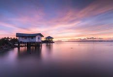 Дом на пляже с красивой атмосферой Стоковое Изображение RF