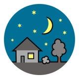 Дом на рамке круга, nighttime, значке вектора Стоковая Фотография RF