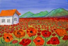 Дом на луге при красные маки, крася Стоковая Фотография RF