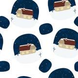 Дом на холме в зиме Printable шаблоны Картина Стоковое Изображение