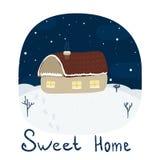 Дом на холме в зиме Printable шаблоны Стоковая Фотография RF