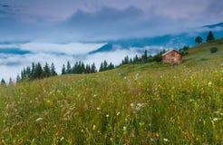 Дом на холме, туман Стоковые Фотографии RF