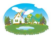 Дом около озера в лете Стоковые Изображения RF
