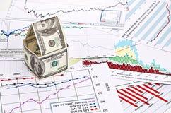 Дом долларов. на предпосылке диаграммы Стоковые Изображения RF
