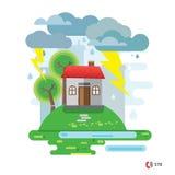 Дом повредил упаденным деревом, иллюстрацией вектора, никакими прозрачностями Стоковые Фото