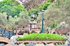 Дом покрытый деревьями в парке стоковое изображение