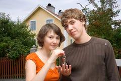 дом пользуется ключом новая Стоковая Фотография