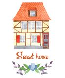 Дом помадки поздравительной открытки акварели Полу-timbered дом, цветки, ветви иллюстрация штока