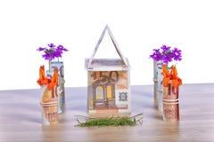 Дом построенный с счетами евро и своим садом стоковая фотография rf