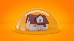 Дом под стеклянным экраном, концепция защиты бесплатная иллюстрация