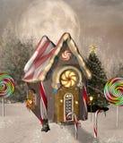 Дом пряника с рождественской елкой в пейзаже зимы бесплатная иллюстрация
