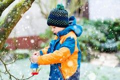 Дом птицы смертной казни через повешение мальчика маленького ребенка на дереве для подавать в зиме Стоковая Фотография RF