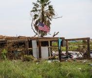 Дом разрушенный мощным ураганом Харви на побережье Техаса Стоковое фото RF