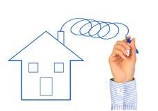 дом руки чертежа новая Стоковое Фото