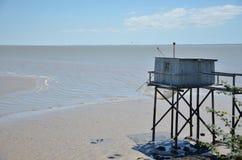 Дом рыболова во время отлива Стоковое Изображение RF