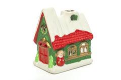 Дом свечи украшения рождества изолированный на белой предпосылке Стоковое Фото